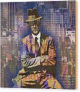 New York Man Seated City Background 1 Wood Print