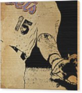 New York Mets 15 Red And Blue Vintage Cards On Brown Background Wood Print