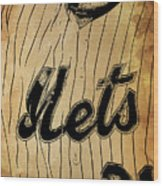 New York Mets 21 Red And Blue Vintage Cards On Brown Background Wood Print