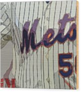 New York Mets Baseball Team And New Typography Wood Print