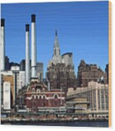 New York Mid Manhattan Skyline Wood Print