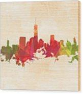 New York Orange Skyline Wood Print