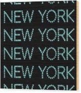 New York - Pale Blue On Black Background Wood Print