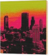 New York Pink Wood Print