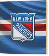 New York Rangers - 3d Badge Over Flag Wood Print