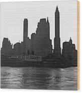 New York Silhouette At Dusk Wood Print