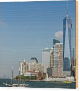 New York Skyline And Sailboat Wood Print