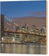 New York Skyline - Brooklyn Bridge - 4 Wood Print
