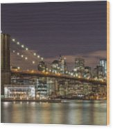 New York Skyline - Brooklyn Bridge - 6 Wood Print