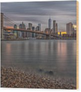 New York Skyline - Brooklyn Bridge - 9 Wood Print