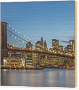 New York Skyline - Brooklyn Bridge Wood Print