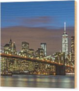 New York Skyline - Brooklyn Bridge Panorama - 2 Wood Print