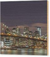 New York Skyline - Brooklyn Bridge Panorama - 3 Wood Print