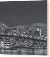 New York Skyline - Brooklyn Bridge Panorama - 4 Wood Print