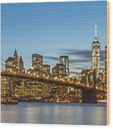 New York Skyline - Brooklyn Bridge Panorama Wood Print