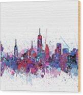 New York Skyline Color Splatter Wood Print