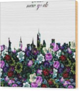 New York Skyline Floral 3 Wood Print