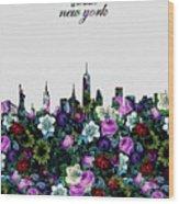 New York Skyline Floral 4 Wood Print