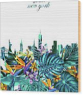 New York Skyline Floral  6 Wood Print