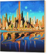 New York Skyline Blue Orange - Modern Art Wood Print