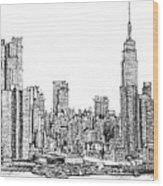 New York Skyline In Ink Wood Print
