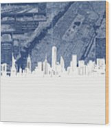 New York Skyline Map 2 Wood Print