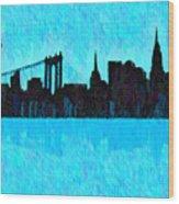 New York Skyline Silhouette Cyan - Da Wood Print