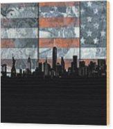 New York Skyline Usa Flag 5 Wood Print
