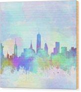 New York Skyline Watercolor 7 Wood Print