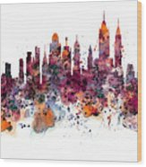 New York Skyline Watercolor Wood Print