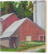 New York State Farm With Silos Wood Print