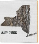 New York State Map Wood Print