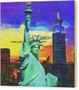 New York Statue Of Liberty Wood Print