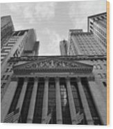 New York Stock Exchange Black And White Wood Print