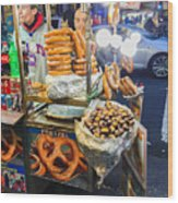 New York Street Vendor Wood Print