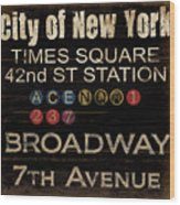 New York Subway Wood Print