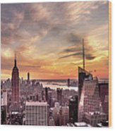 New York Sunset Wood Print
