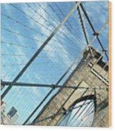 New York Usa  Brooklyn Bridge Towards Manhattan. Wood Print