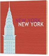 New York Vertical Scene - Chrysler Building Wood Print