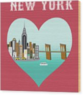 New York Vertical Skyline - Heart Wood Print