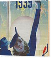 New York, World Fair, Firework, Woman In Blue Dress Wood Print