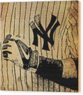 New York Yankees Baseball Team Vintage Card Wood Print
