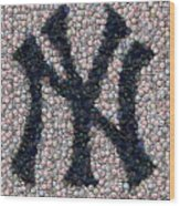 New York Yankees Bottle Cap Mosaic Wood Print by Paul Van Scott