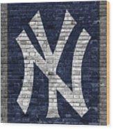 New York Yankees Brick Wall Wood Print