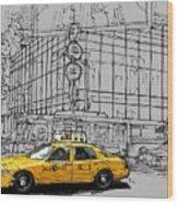 New York Yellow Cab Wood Print