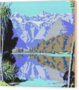 New Zealand Lake Matheson Vintage Travel Poster Wood Print
