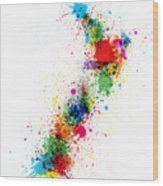 New Zealand Paint Splashes Map Wood Print