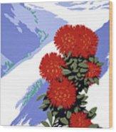 New Zealand Rata Blossom Vintage Travel Poster Wood Print