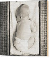 Newborn Baby In Crate Filtered Wood Print