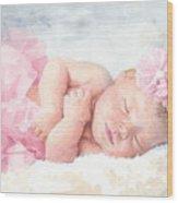 Newborn Girl Asleep In A Tutu Wood Print